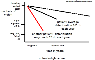 most patients lose about 1db a year with glaucoma, but a few patients lose 12db a year